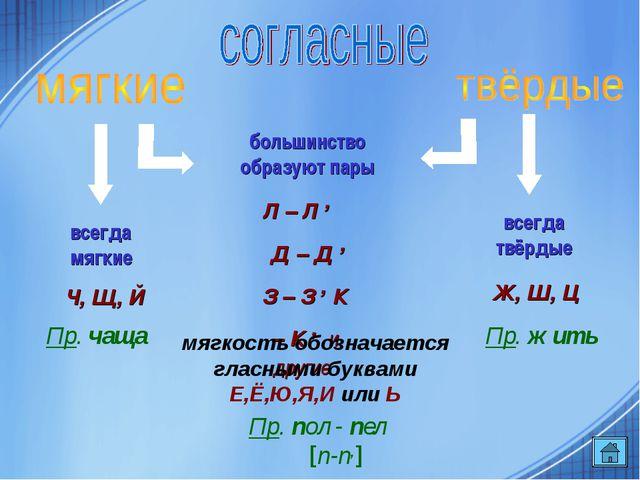 большинство образуют пары всегда мягкие всегда твёрдые Л – Л , Д – Д , З – З...