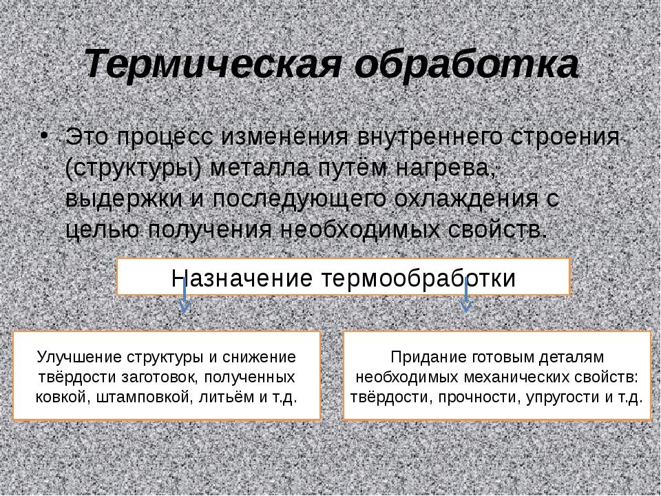 Термическая обработка Это процесс изменения внутреннего строения (структуры)...