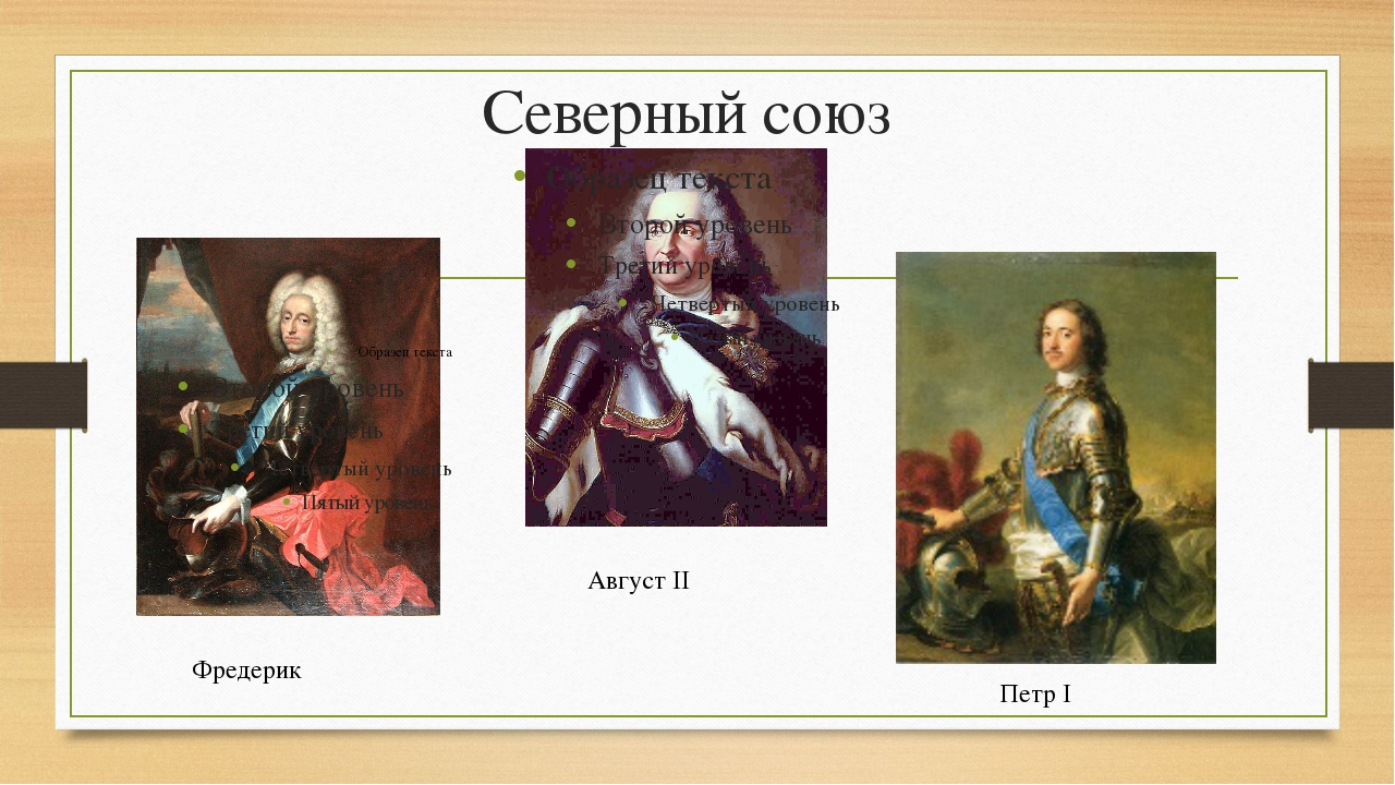 Северный союз Август II Фредерик Петр I
