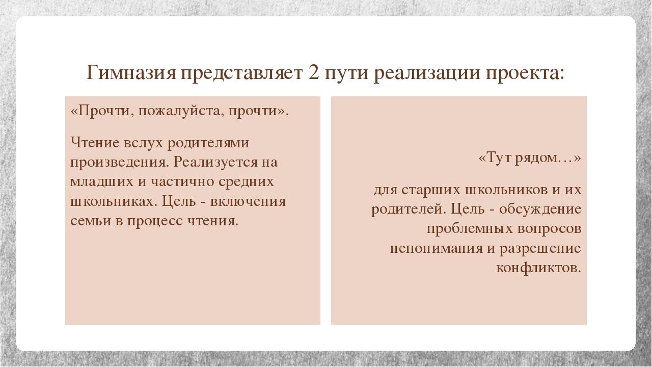 Гимназия представляет 2 пути реализации проекта: «Прочти, пожалуйста, прочти»...