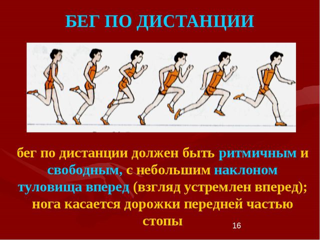 * БЕГ ПО ДИСТАНЦИИ бег по дистанции должен быть ритмичным и свободным, с небо...