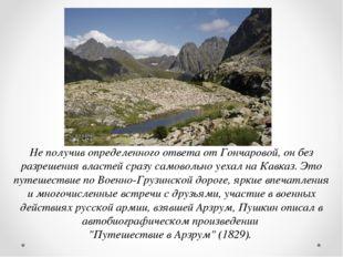 Не получив определенного ответа от Гончаровой, он без разрешения властей сраз