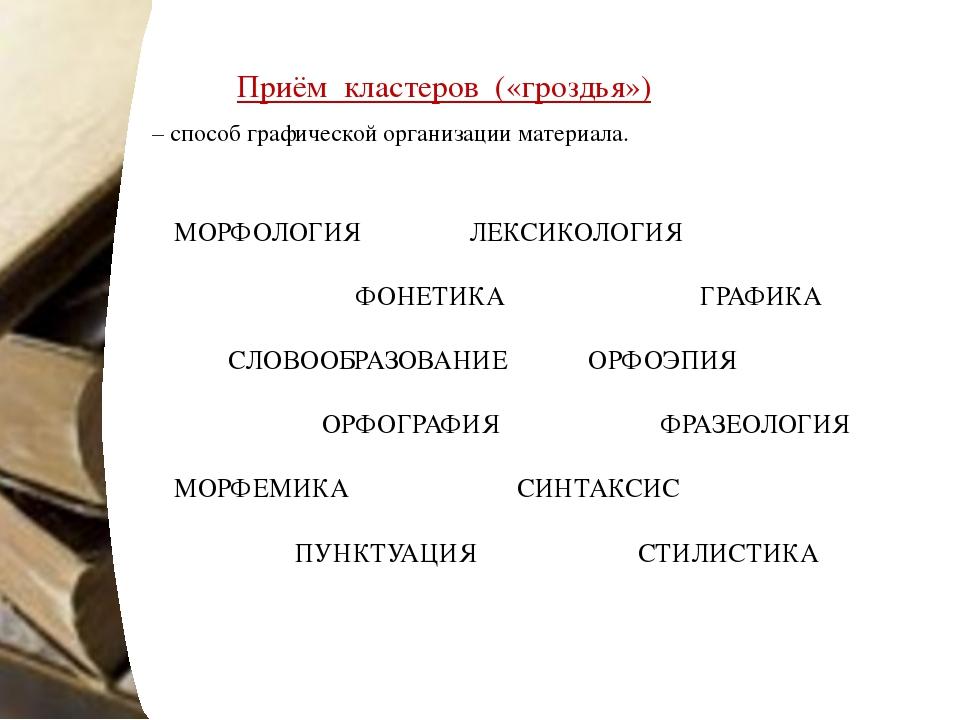 Приём кластеров («гроздья») – способ графической организации материала. МОРФО...