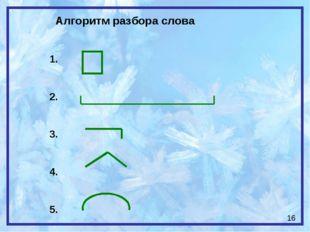 Алгоритм разбора слова 1. 2. 3. 4. 5. 16