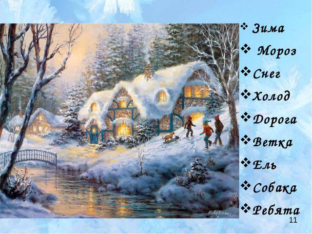 Зима Мороз Снег Холод Дорога Ветка Ель Собака Ребята 11
