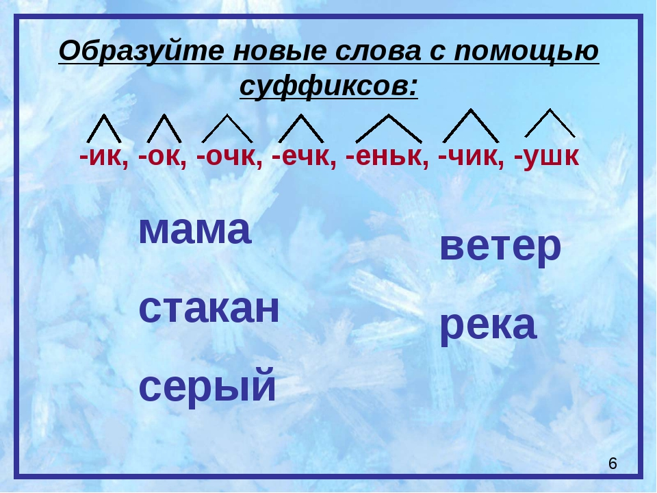 Образуйте новые слова с помощью суффиксов: -ик, -ок, -очк, -ечк, -еньк, -чик,...