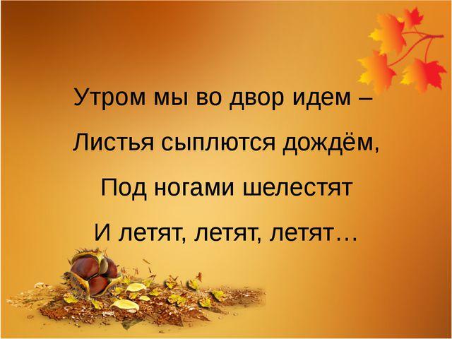 Утром мы во двор идем – Листья сыплются дождём, Под ногами шелестят И летят,...