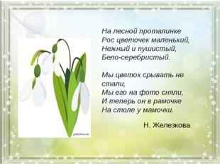 На лесной проталинке Рос цветочек маленький, Нежный и пушистый, Бело-серебри