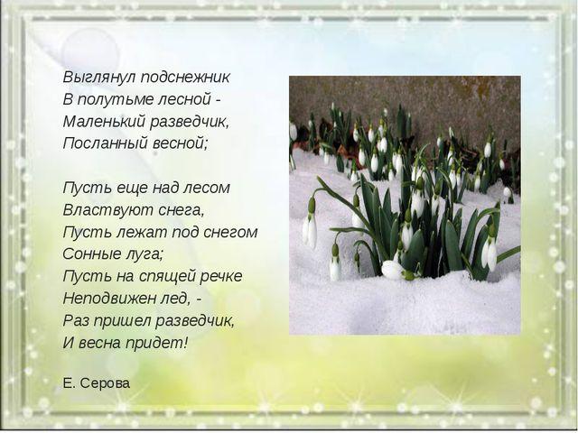 Выглянул подснежник В полутьме лесной - Маленький разведчик, Посланный весно...