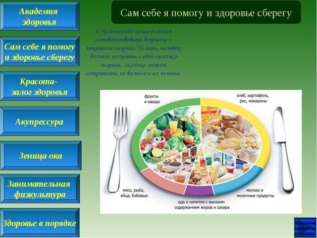 Сам себе я помогу и здоровье сберегу 1. Количество пищи должно соответствоват...
