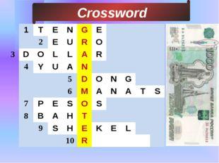 3 Сrossword 1 T E N G E 2 E U R O D O L L A R 4 Y U A N 5 D O N G 6 M A N A