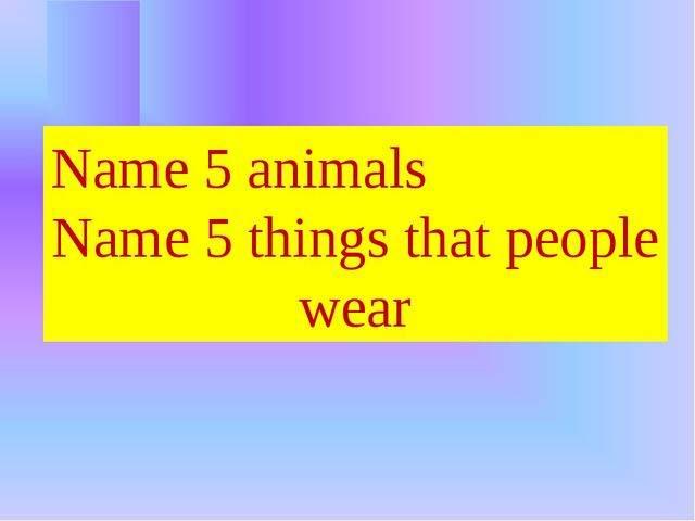 Name 5 animals Name 5 things that people wear