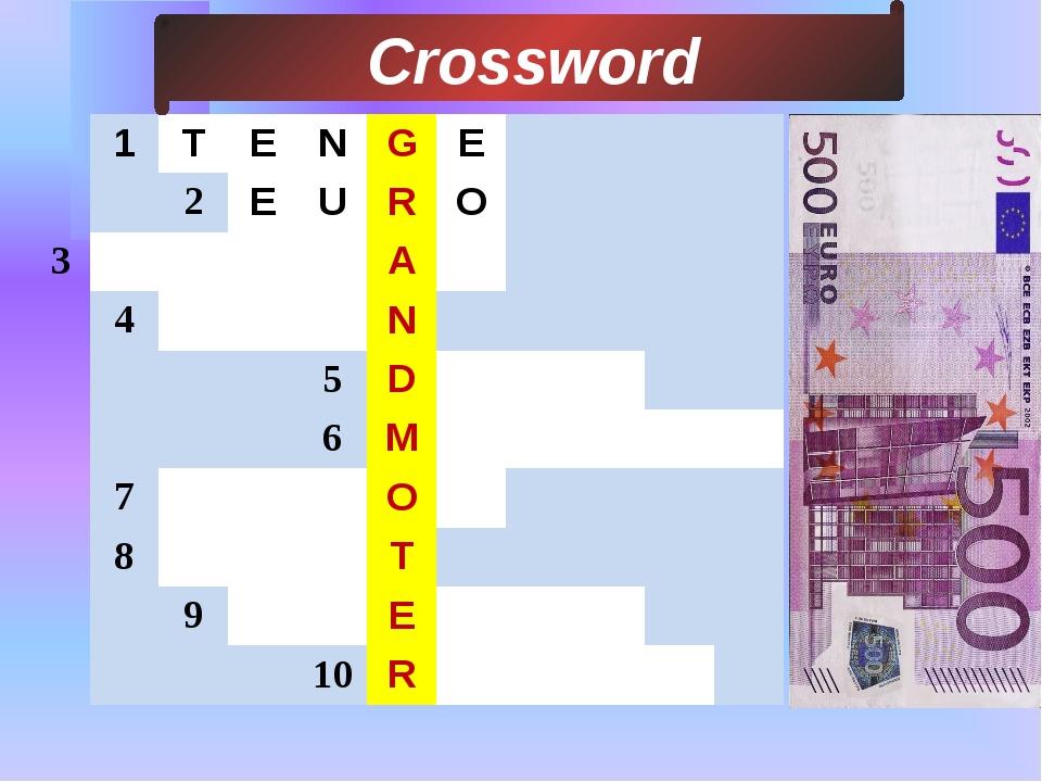3 Сrossword 1 T E N G E 2 E U R O A 4 N 5 D 6 M 7 O 8 T 9 E 10 R