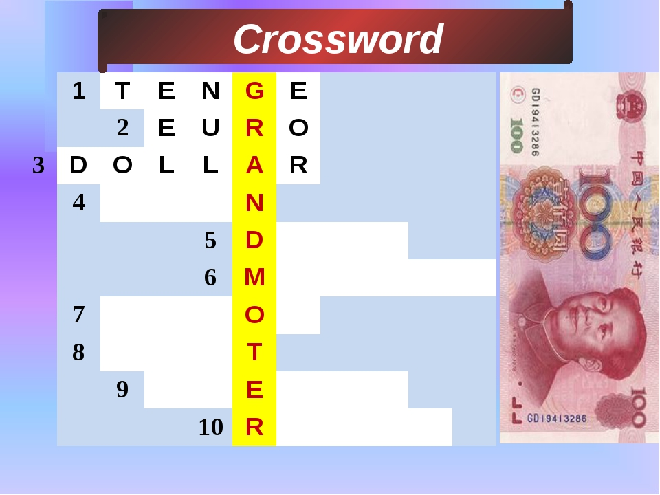 3 Сrossword 1 T E N G E 2 E U R O D O L L A R 4 N 5 D 6 M 7 O 8 T 9 E 10 R