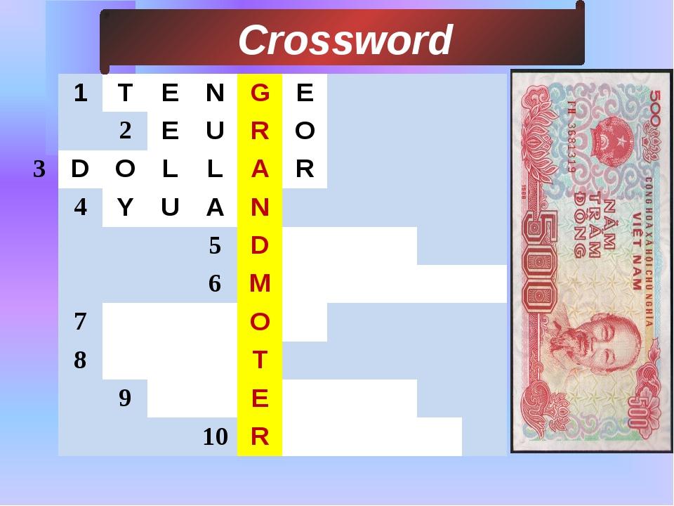 3 Сrossword 1 T E N G E 2 E U R O D O L L A R 4 Y U A N 5 D 6 M 7 O 8 T 9 E...