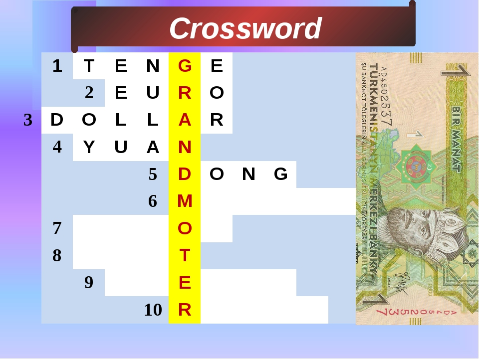 3 Сrossword 1 T E N G E 2 E U R O D O L L A R 4 Y U A N 5 D O N G 6 M 7 O 8...