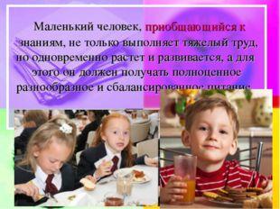 Маленький человек, приобщающийся к знаниям, не только выполняет тяжелый труд