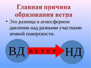 Это разница в атмосферном давлении над разными участками земной поверхности.