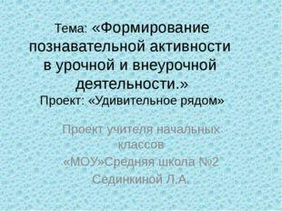 Тема: «Формирование познавательной активности в урочной и внеурочной деятель