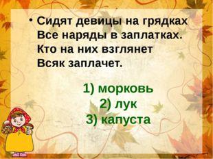 1) морковь 2) лук 3) капуста Сидят девицы на грядках Все наряды в заплатках.
