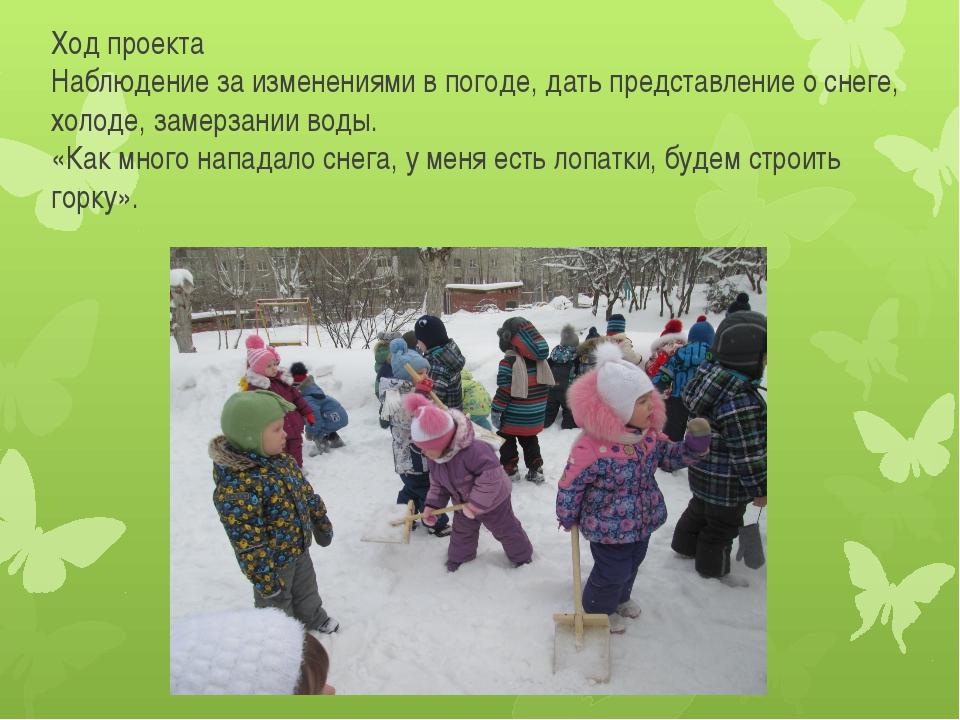 Ход проекта Наблюдение за изменениями в погоде, дать представление о снеге, х...