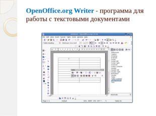 OpenOffice.org Writer - программа для работы с текстовыми документами