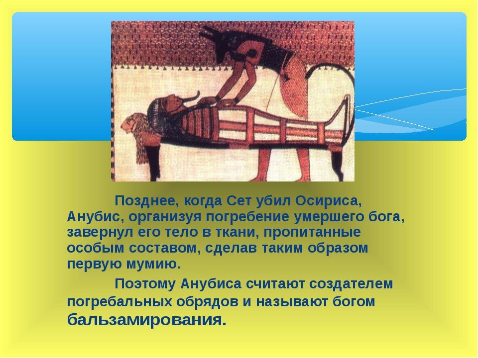 Позднее, когда Сет убил Осириса, Анубис, организуя погребение умершего бога,...