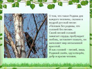 О том, что такое Родина для каждого человека, сказано в мудрой русской песне: