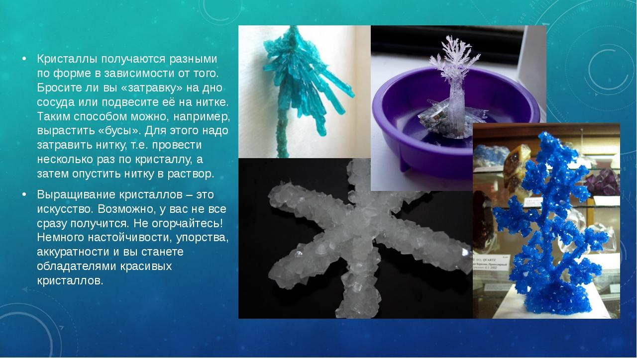Кристаллы получаются разными по форме в зависимости от того. Бросите ли вы «з...
