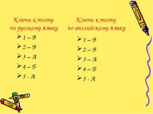 Ключи к тесту по русскому языку 1 – В 2 – В 3 – А 4 – Б 5 - А Ключи к тесту п