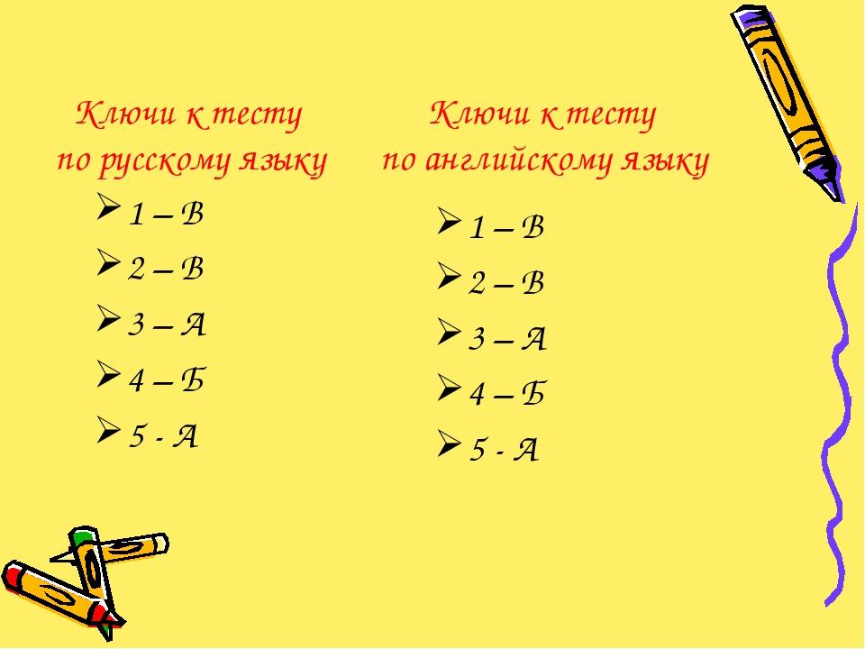 Ключи к тесту по русскому языку 1 – В 2 – В 3 – А 4 – Б 5 - А Ключи к тесту п...