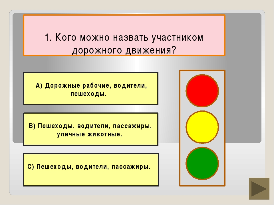 1. Кого можно назвать участником дорожного движения? В) Пешеходы, водители, п...
