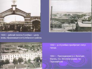 1929 г.- рабочий поселок Кулебаки – центр вновь образовавшегося Кулебакского