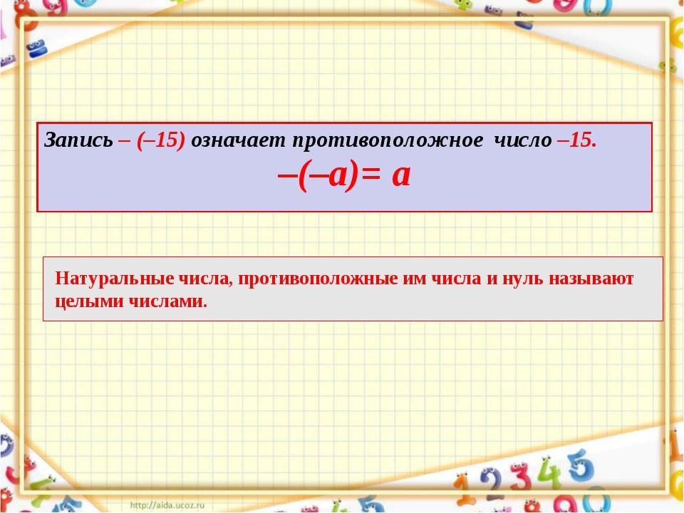 Запись – (–15) означает противоположное число –15. –(–а)= а Натуральные числа...