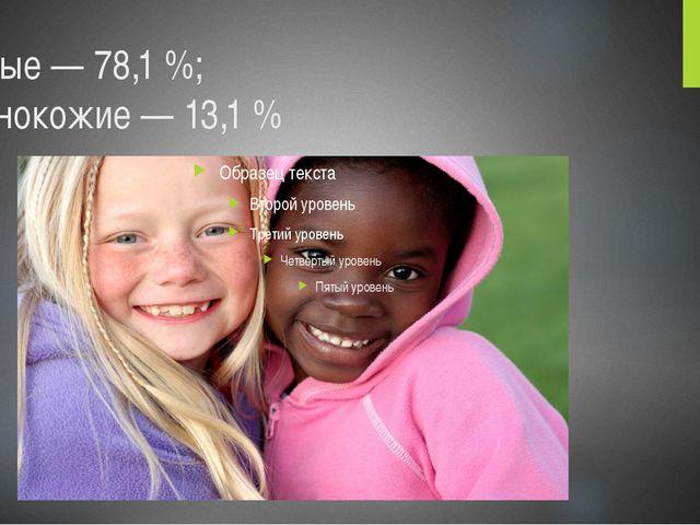 Белые— 78,1%; темнокожие— 13,1%