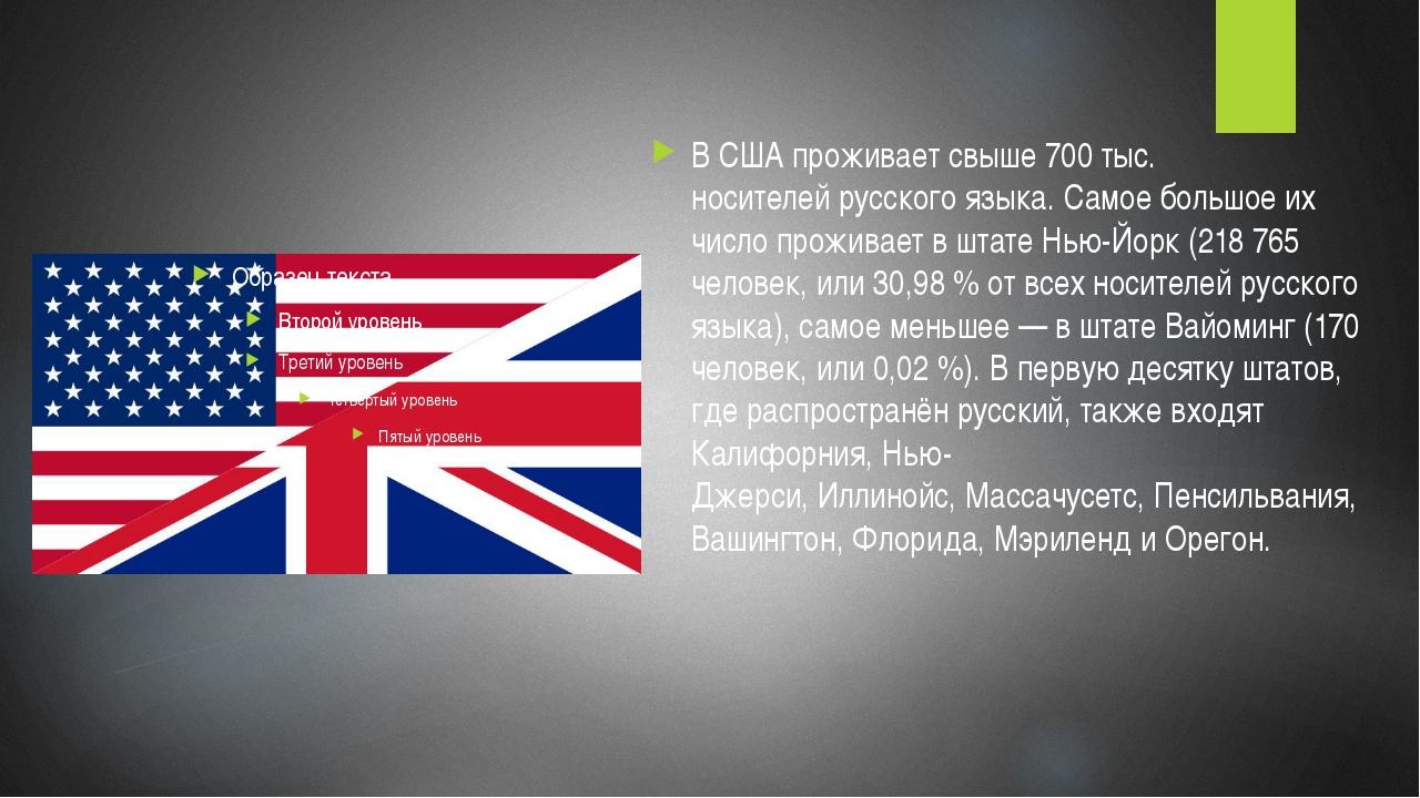 В США проживает свыше 700 тыс. носителейрусского языка. Самое большое их чи...