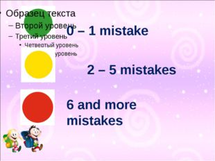 2 – 5 mistakes 0 – 1 mistake 6 and more mistakes