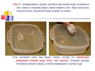 Опыт 3 – возьмем миску с водой, опустим в нее кусочек льда, положим на него с