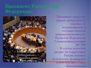 Президент Российской Федерации: Принимает меры по охране суверенитета страны,