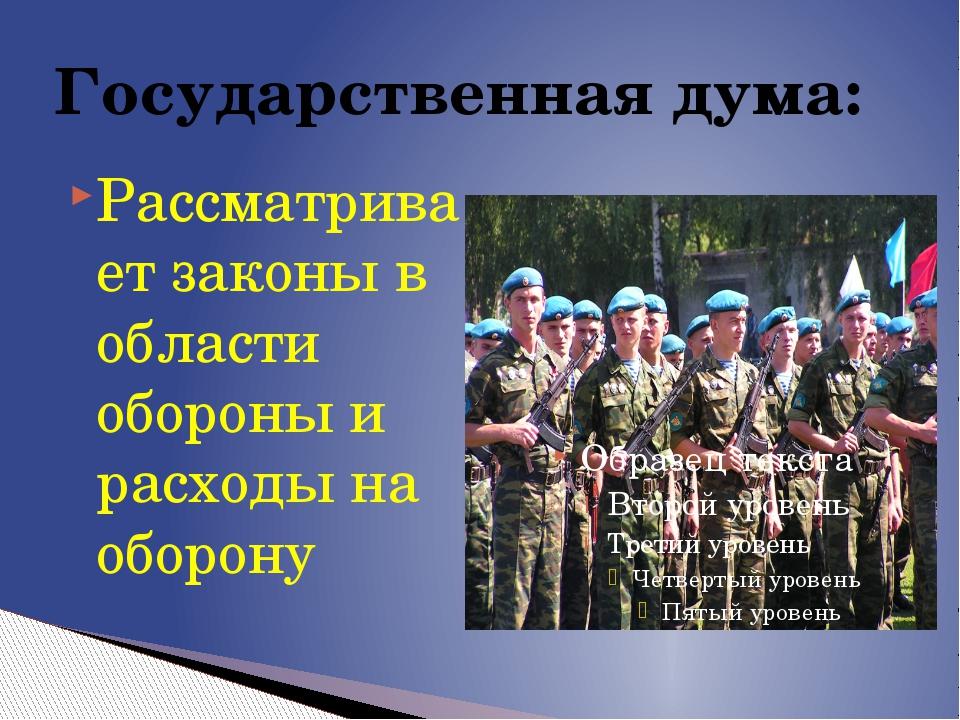 Рассматривает законы в области обороны и расходы на оборону Государственная д...