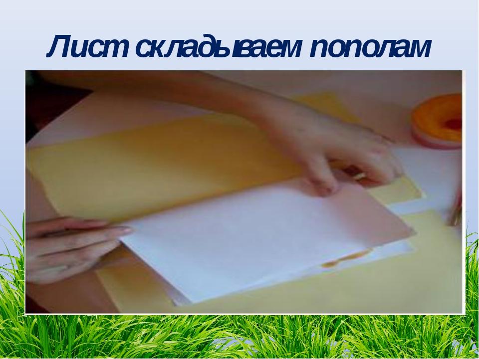 Лист складываем пополам