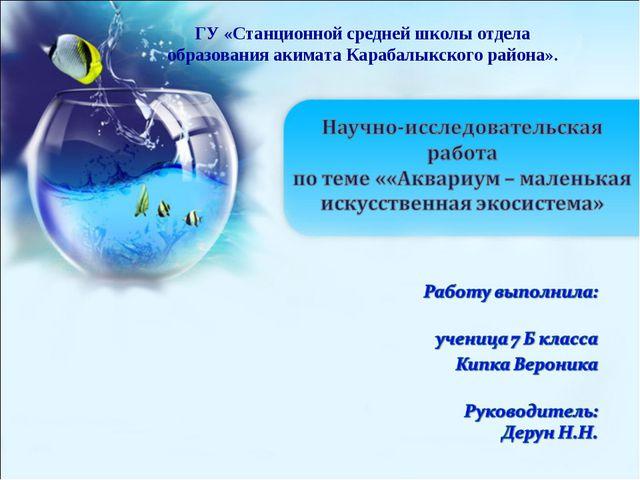 ГУ «Станционной средней школы отдела образования акимата Карабалыкского район...