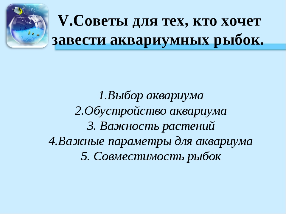 V.Советы для тех, кто хочет завести аквариумных рыбок. 1.Выбор аквариума 2.Об...