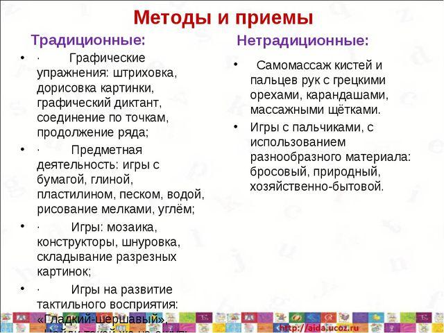 Методы и приемы Традиционные: ·Графические упражнения: штриховка, до...