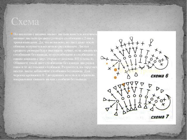 Схема По аналогии с вязание малых листьев кажется логичным вязание листьев ср...