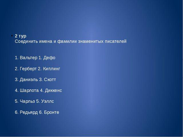 2 тур Соединить имена и фамилии знаменитых писателей 1. Вальтер 1. Дефо 2....