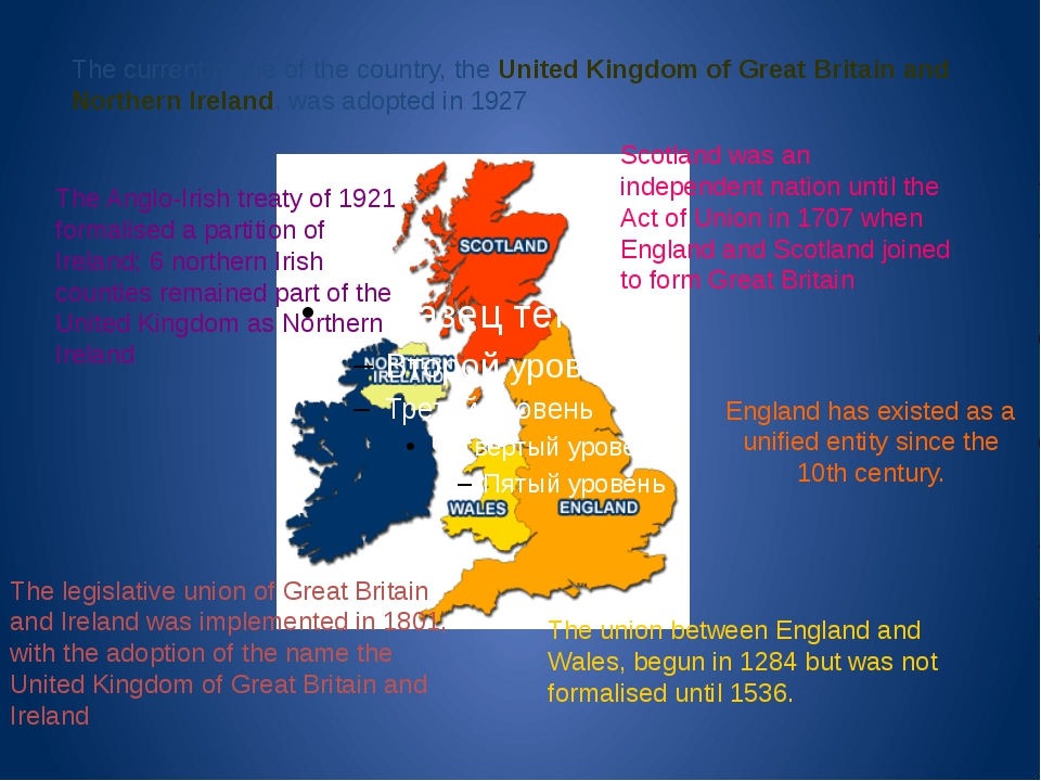 England has existed as a unified entity since the 10th century. The union bet...