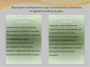 Критерии оценивания подготовленности учащихся по физической культуре. Качеств