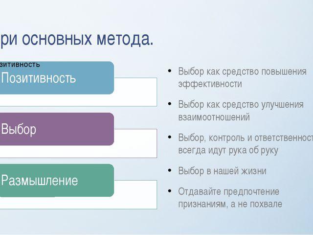 Три основных метода. Выбор как средство повышения эффективности Выбор как сре...