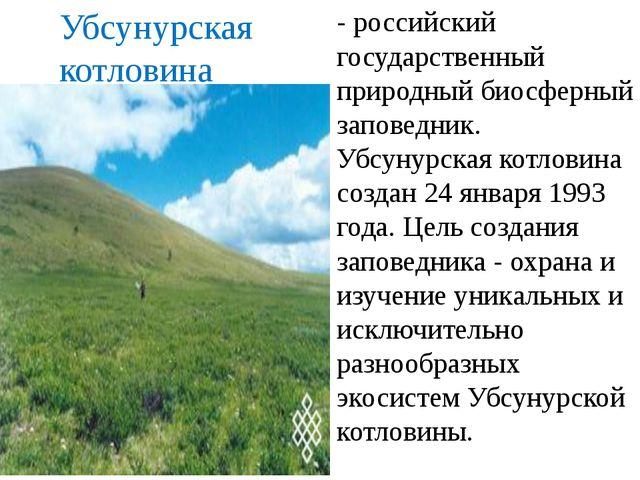 - российский государственный природный биосферный заповедник. Убсунурская кот...